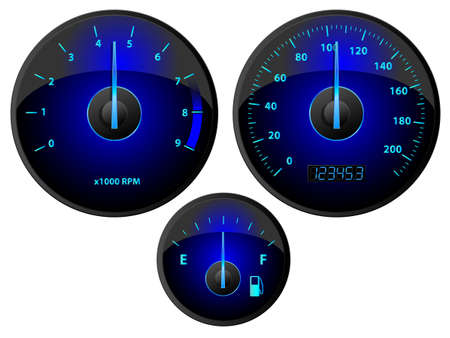 rev counter: Modern blue speedometer, tachometer and fuel gauge set