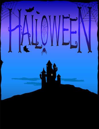 cobwebs: Spooky castle and cobwebs. Halloween background illustration Illustration