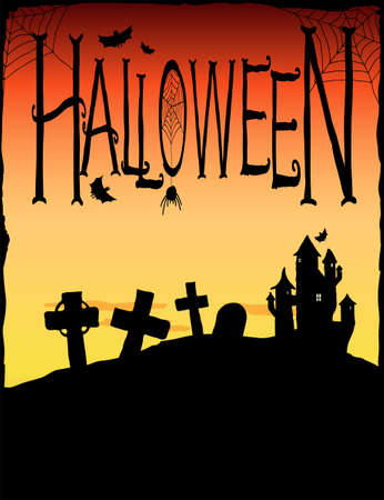 trick or treat: Spooky castle and gravestones. Halloween background illustration