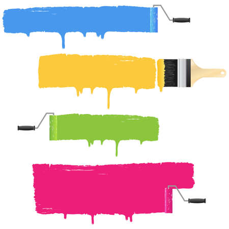 painted wall: Colorful paint roller and brush smear banners