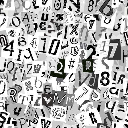 Black and white repeating newsprint letters wallpaper background Illustration