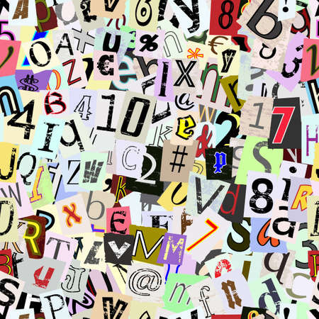tileable background: Torn paper letters and numbers. Repeating seamless wallpaper background. Illustration