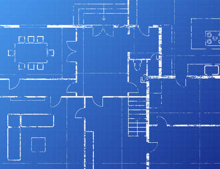 Grungy architectural blueprint illustration on blue background Vector