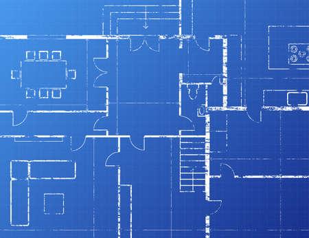 Grungy architectural blueprint illustration on blue background