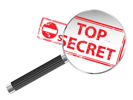 Top Secret rubber stamp under a magnifying glass Stock Vector - 15910758