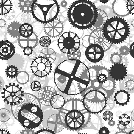 mechanized: Repeating black and grey seamless gear wheels background