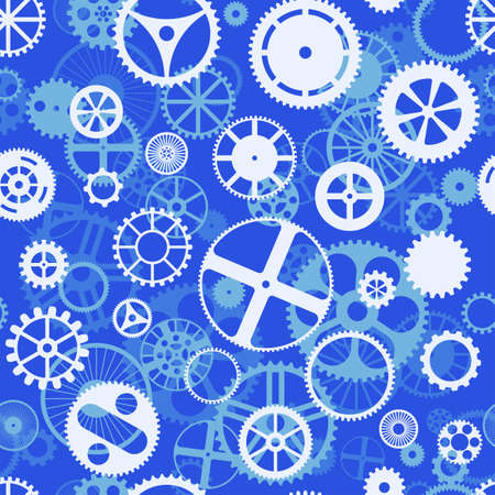 engineered: Repeating blue seamless gear wheels background illustration