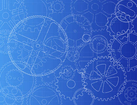 Grungy technical gears illustration on blue background Illustration