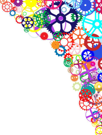 mechanized: Gears and wheels. Artistic multicolored background illustration