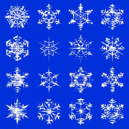 Grungy snowflake illustrations on a blue background. Çizim