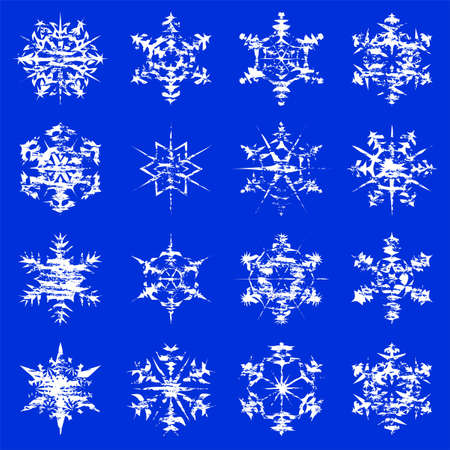 Grungy snowflake illustrations on a blue background. Stock Vector - 16166463