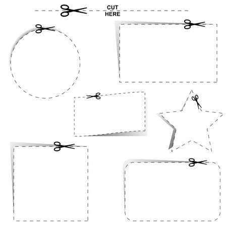 Cut out shapes with dotted lines and scissors Stock Vector - 16166459