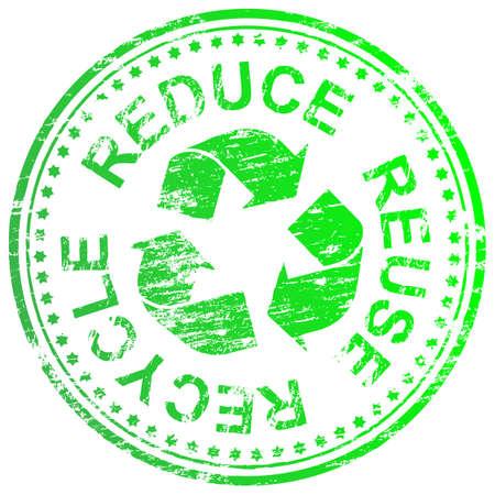 Reducir, reutilizar y reciclar ilustración sello de goma