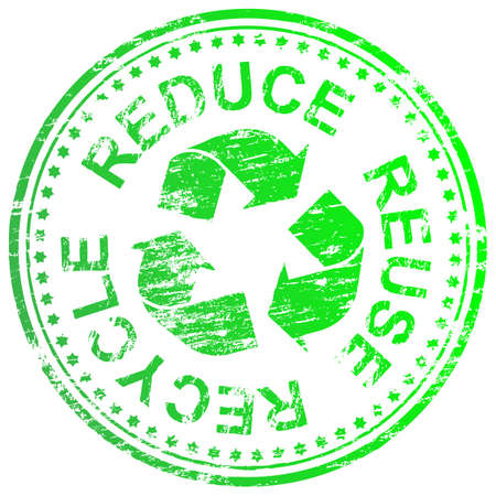 Ridurre, riutilizzare e riciclare timbro di gomma illustrazione