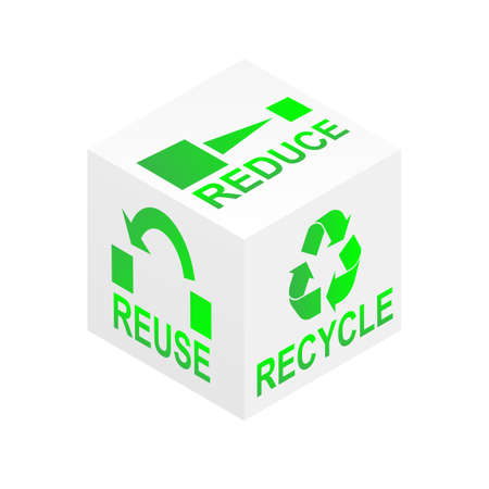 Reduce, reuse and recycle on white cube illustration Vector