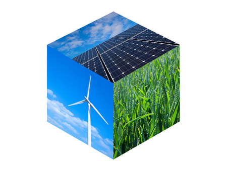 energy fields: Wind turbine, solar panels and wheat field. Renewable energy photos in a cube