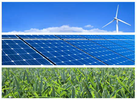 Wind turbine, solar panels and wheat field. Renewable energy banners photo