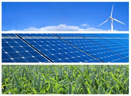 Wind Turbine, Sonnenkollektoren und Weizenfeld. Erneuerbare Energien Banner