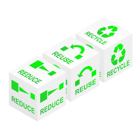 Reduce, reuse and recycle on white cubes illustration Stock Vector - 16166464