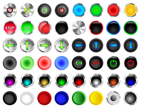 Round push buttons in different colors and styles Vector