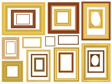 Decorative gold and wooden vector picture frames Stock Vector - 16300665