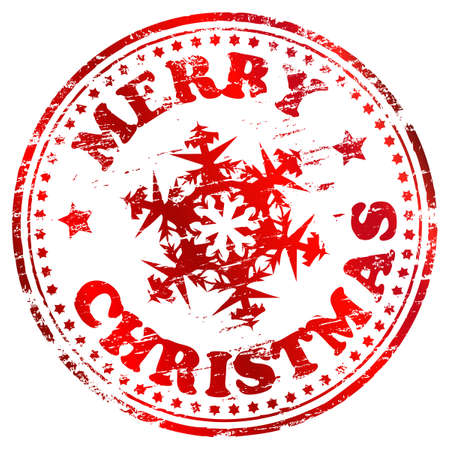Merry christmas rubber stamp with snowflake  illustration Vector