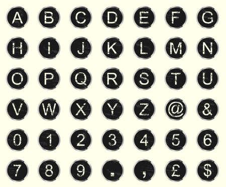 typewriter: Vintage advertencia y descoloridas teclas de máquina de escribir un conjunto de letras, números y símbolos.