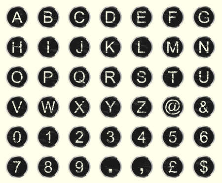 Vintage warn and faded typewriter keys set of letters, numbers and symbols.