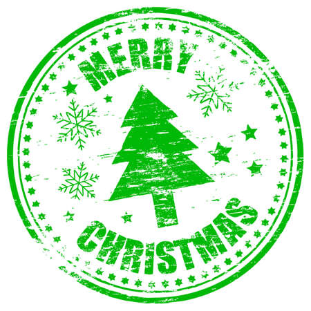 Merry christmas grungy rubber stamp  illustration Stock Vector - 16407305