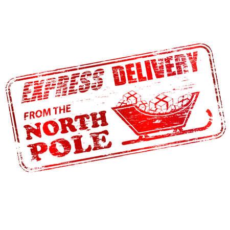 timbre postal: Entrega urgente de la ilustración North Pole sello de goma