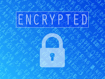 Hexadecimal numbers and letters with padlock symbol and Encrypted text vector background Illustration