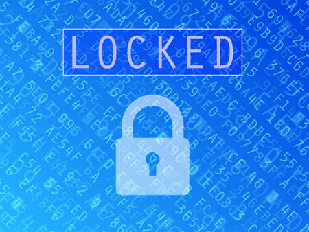 encoded: Hexadecimal numbers and letters with padlock symbol and Locked text vector background