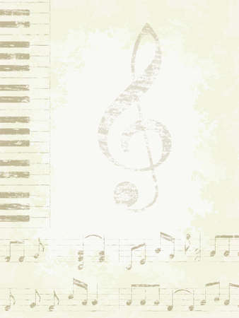 Faded old music background. Piano keys and notes. Çizim