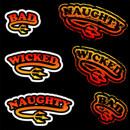 wicked: Naughty, wicked and bad rubber stamp and sticker. Illustration