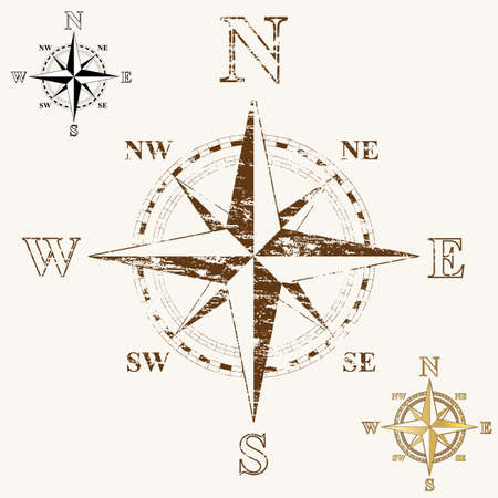 Faded compass rose, with gold, and plain black and white versions. Vector