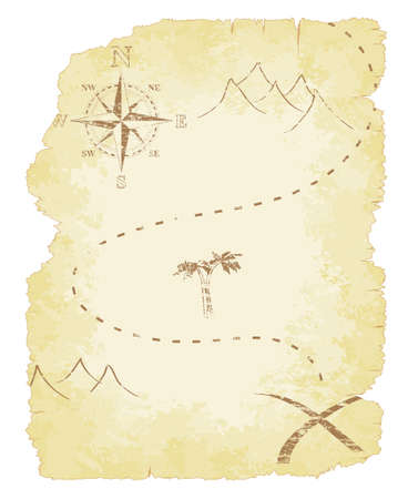 Battered and faded old treasure map Illustration