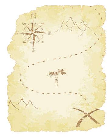 mapa del tesoro: Mapa Maltratadas viejo y descolorido tesoro