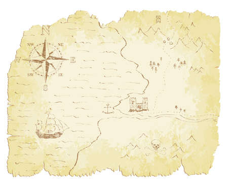 tattered: Battered and faded old map illustration.