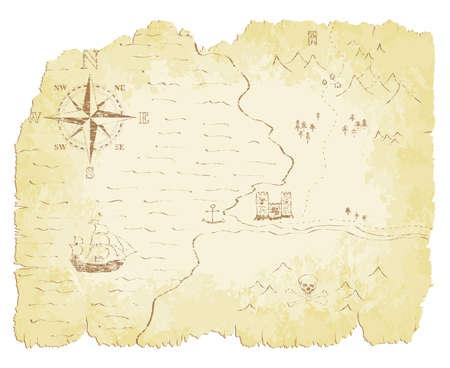 schatkaart: Gehavend en vervaagde oude kaart illustratie. Stock Illustratie