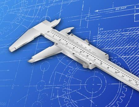 Vernier caliper illustration on a blueprint background Stock Photo