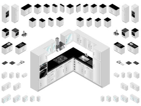 Kitchen design elements. Large selection of isometric kitchen units for room layout and design. Illustration