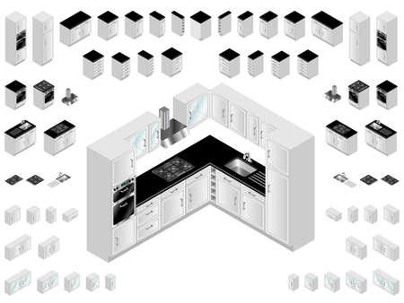 Elementy wystroju kuchni. Duży wybór szafek kuchennych izometrycznych dla układu pomieszczenia i wzornictwa. Ilustracje wektorowe