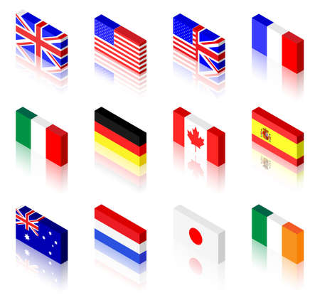3D flag illustrations. UK, America, France, Italy, Germany, Canada, Spain, Australia, The Netherlands, Japan and Ireland Vector