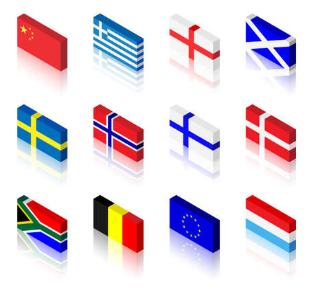 3D flag illustrations. China, Greece, England, Scotland, Sweden, Norway, Finland, Denmark, South Africa, Belgium, European Union and Luxembourg