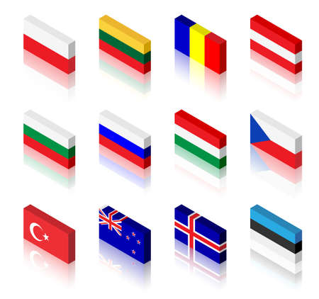 3D flag illustrations. Poland, Lithuania, Romania, Austria, Bulgaria, Russia, Hungary, Czech Republic, Turkey, New Zealand, Iceland and Estonia Vector