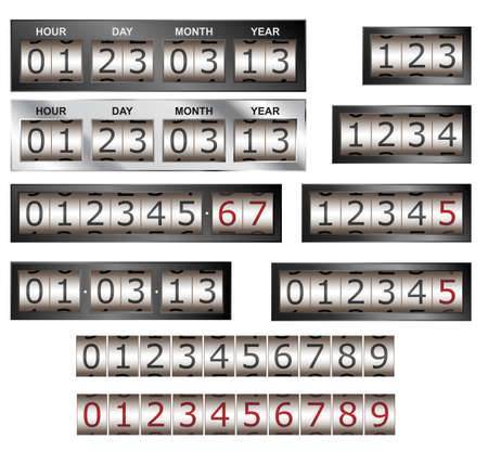 Numeric counter and timer vector with different bezel styles Stock Vector - 17094129