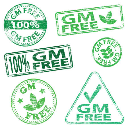 gm: G M free food. Rubber stamp vector illustrations