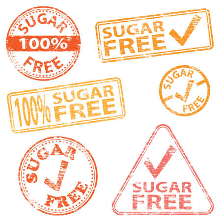 intolerance: Sugar free food. Rubber stamp vector illustrations