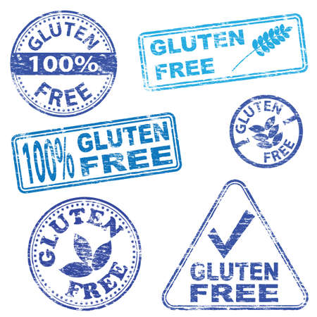 Gluten free food. Rubber stamp vector illustrations Illustration