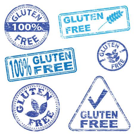 Gluten free food. Rubber stamp vector illustrations Illustration